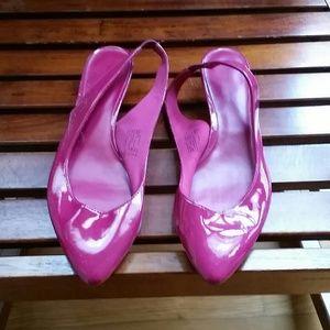 Hot pink patent sling backs